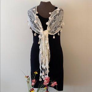 Lace crochet boho romantic scarf shawl wrap cream
